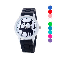 Newly Design Black Cat Watch Silicone Jelly Wrist Watches For Women Girl  Aug11