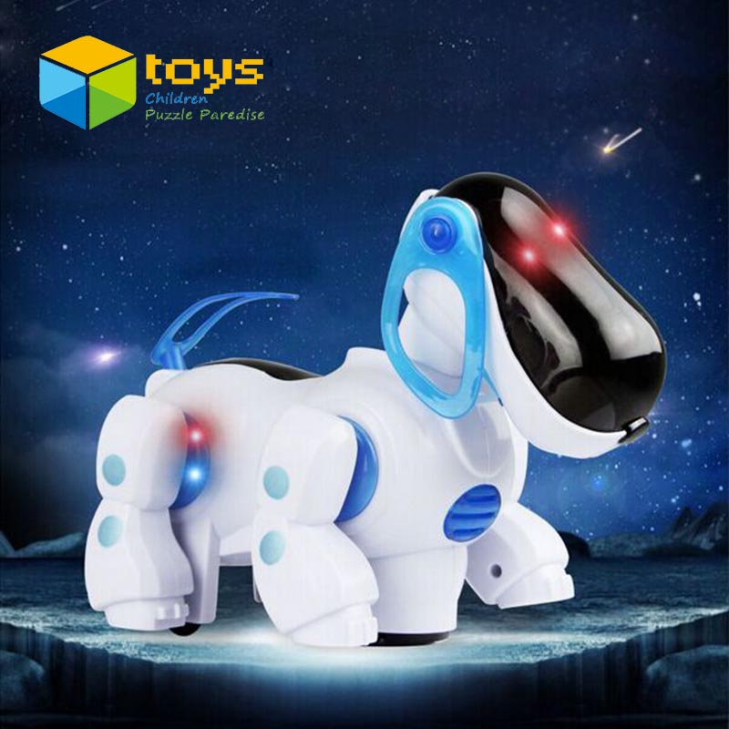 Electronic Universal Musical Stroll Smart Robot Dog Kids Toys for Children Puppy Pets with Light Shaking Head Wagging Tail Gift(China (Mainland))