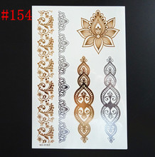 Fashion Metallic glitter Tattoo Gold Silver Temporary Bling Flash Tats indians tattoo environmental protection One time