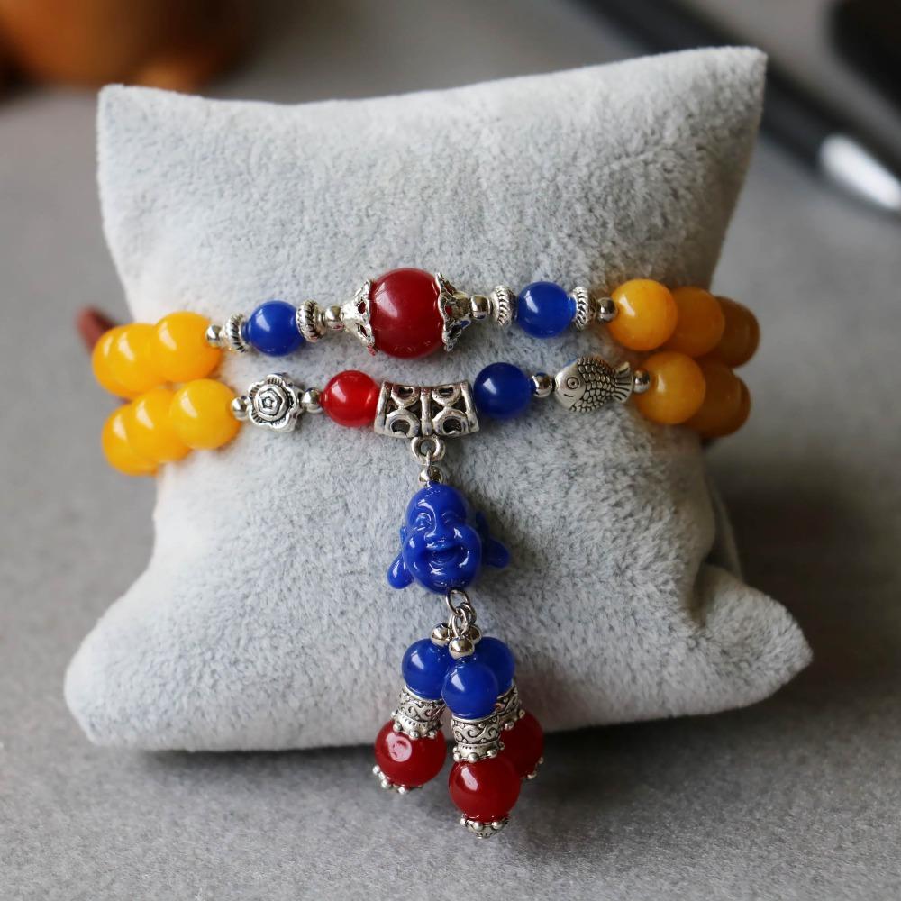 Trendy 8mm Yellow Jade Beads Bracelet Tassel Buddha Pendant Female Jewelry Bracelet Multilayer Chain Necklace Natural Stone(China (Mainland))