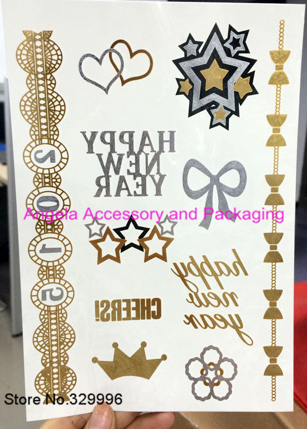 2014 New Metallic Flash Tattoos Temporary Gold/Silver Body Jewelry Sticker Deco Non-toxic Waterproof J-014 - Angela Accessory and Packaging store