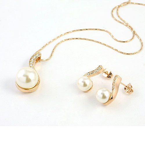 Wholesale Pearl Wedding Jew Set 18K Gold Plated With Genuine Austrian Crystal Women Necklace Earrings Sets JS10012(China (Mainland))