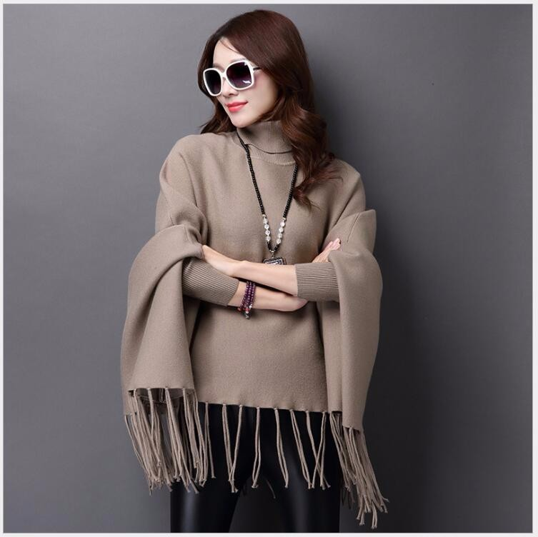 2016 New Winter Women Oversized shawl high-collar sets of sweaters women 's fringed cape sweater HB-4