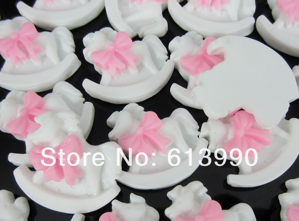 Free Shipping 60Pcs Cute Resin Flatback Rocking Horse Baby Applique Cabochon For Scrapbook(China (Mainland))
