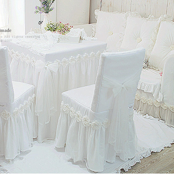 1piece white Princess lace tablecloth for wedding decoration luxury rose dining table cloth chair cover table cover size custom(China (Mainland))