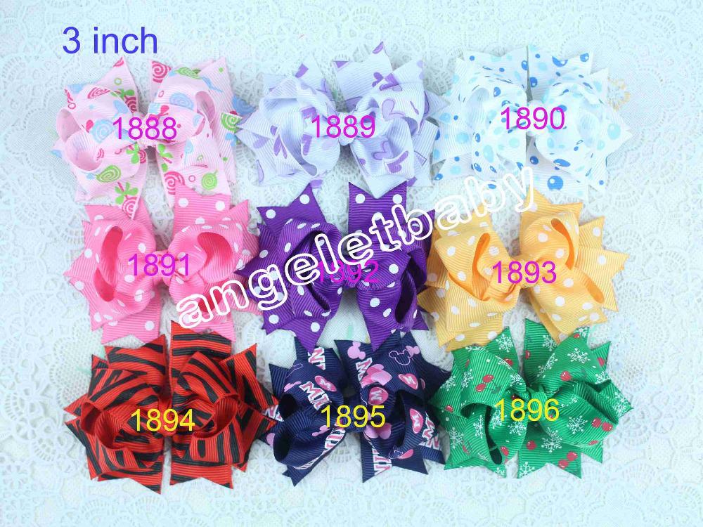 12pcs Xmas Baby hair bows clips ribbon Bowknot Minnie princess cartoon hair bow clip boutique Alligator air accessories HD3205(China (Mainland))