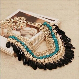 Hot Sale Bohemian Tassels Drop Fashion Gold Trendy Choker Chain Statement Necklaces Pendants Collar Jewelry For