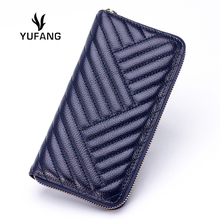 Luxury Genuine Leather Wallet For Women Waves Emboss Ladies Purse Long Bag High Quality Mini Laies Daily Clutch Long Money Clip(China (Mainland))