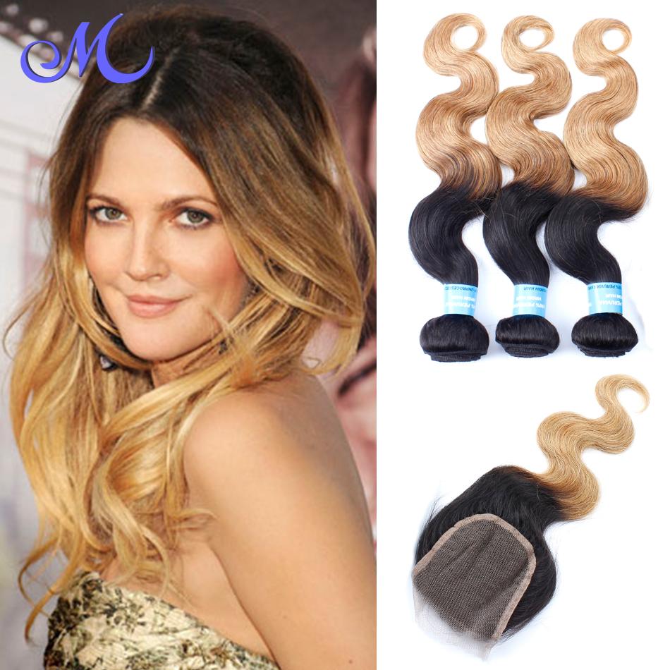 3 Bundles Peruvian With Closure Body Wave Ombre Human Hair Bundles With Closure Cheap Human Hair With Closure Piece Two Tone<br><br>Aliexpress