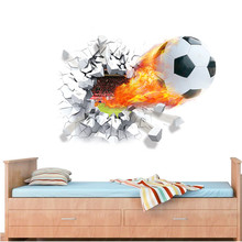 Football Soccer ball Through from the football field wall stickers TV Background bedroom wall decals boys room decor gift(China (Mainland))