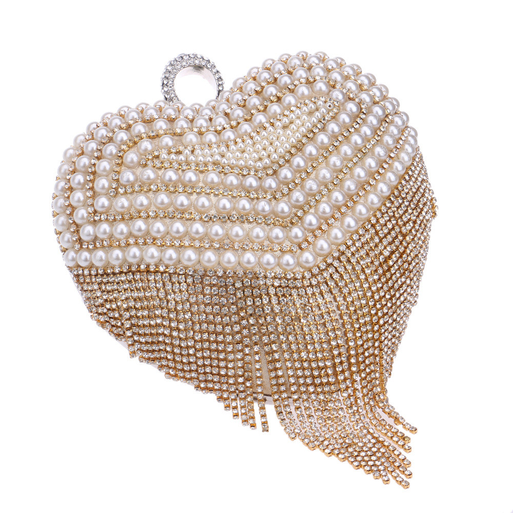 ซื้อ New Women's Diamond Ring Tassel Clutch Rhinestone Pearl Stitching Heart-shaped Evening Bag Wedding Party Handbag Shoulder Bag