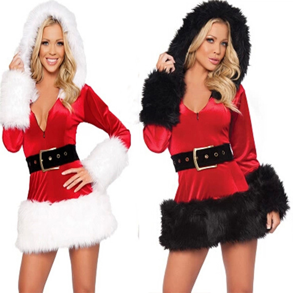2 Color New Fashion Hot Sale Santa Claus Costumes Fantasy Sensual Women Wool dress+Hat+Belt for Women Performance On Christmas(China (Mainland))
