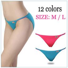 2016 Hot Sexy Women's Underwear Panties T-back Modal Super Low Rise Thong Lingerie Lady Waist Women's Briefs 12color Size M / L(China (Mainland))