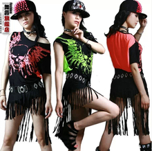 New Fashion hip hop top dance female Jazz costume performance wear stage clothing Halloween skull tassel Neon loose Sexy t-shirt