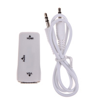 1pc White HDMI to VGA with Audio Cable HDMI to VGA Adapter Female To Female 1080p HDMI to VGA Converter For PC/HDTV Wholesale