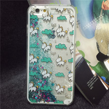 2015 New Arrival Glitter Stars Dynamic Liquid Quicksand Cute Horse Pattern Back Cover Phone Case for iphone 6 plus 5.5 inch