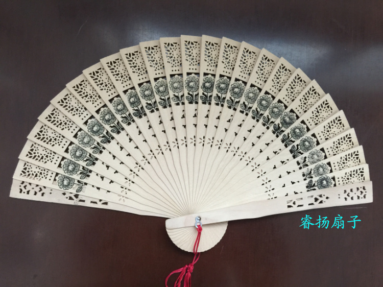 10pcs China features 8 inch xiangyanghua sandalwood fan(China (Mainland))