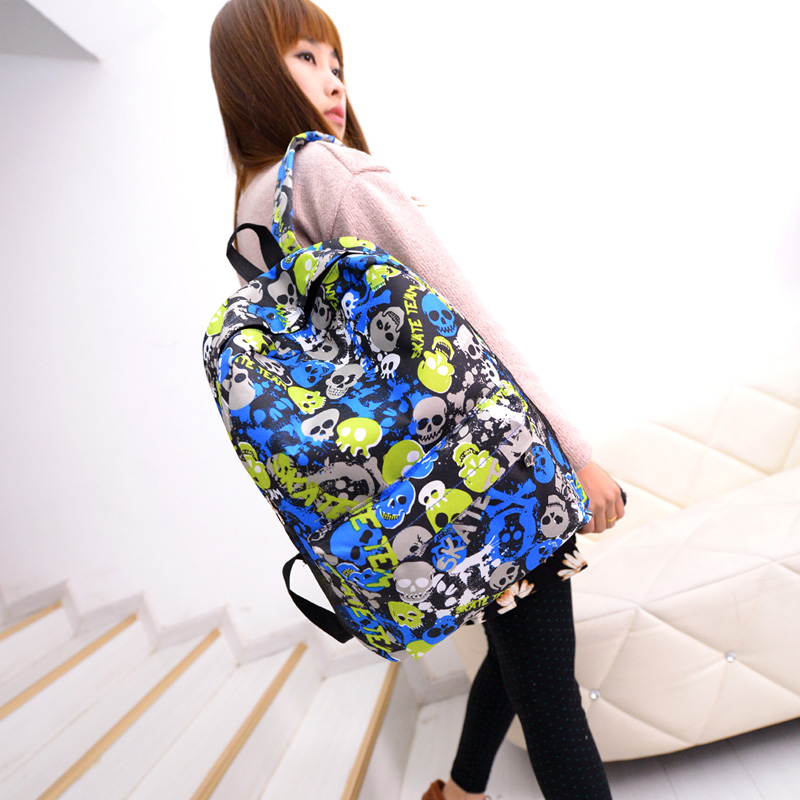 2016 New Color Skull head print women man backpack laptop backpack Punk school bag for college students book bag BG-DA(China (Mainland))