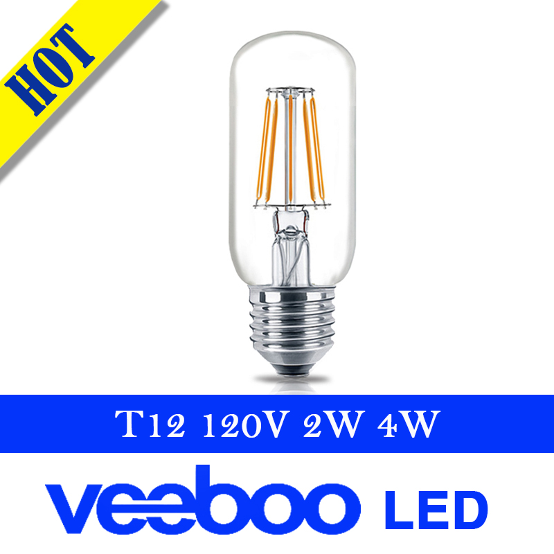 E26 AC 120v 2w 4w T12 filament retro bulb tube indoor decorative LED light ul certificate glass energy saving dimmable(China (Mainland))