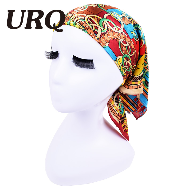 2016 Brand designer woman bank hotel square scarf satin silk Bandana lady hijab head scarf foulard P6A6556(China (Mainland))