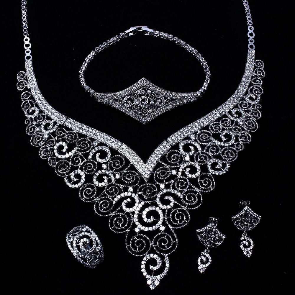 Beautiful Jewelry Sets Include Necklace+Earrings+Bracelet+Ring! Gold/ Rhodium Plate CZ Stones! 4pcs Jewelry Sets for Wedding(China (Mainland))