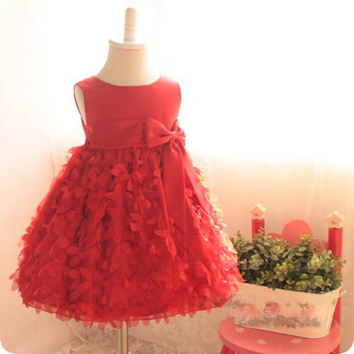 C9 Red 2015 elegant baby girl princess dress flower kids Tutu wedding party formal children clothing clothes(China (Mainland))
