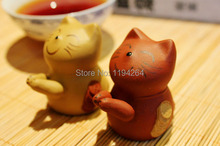 1pc Chinese Yixing Zisha Clay Pottery Plutus Cat Tea Pet Gongfu Decoration