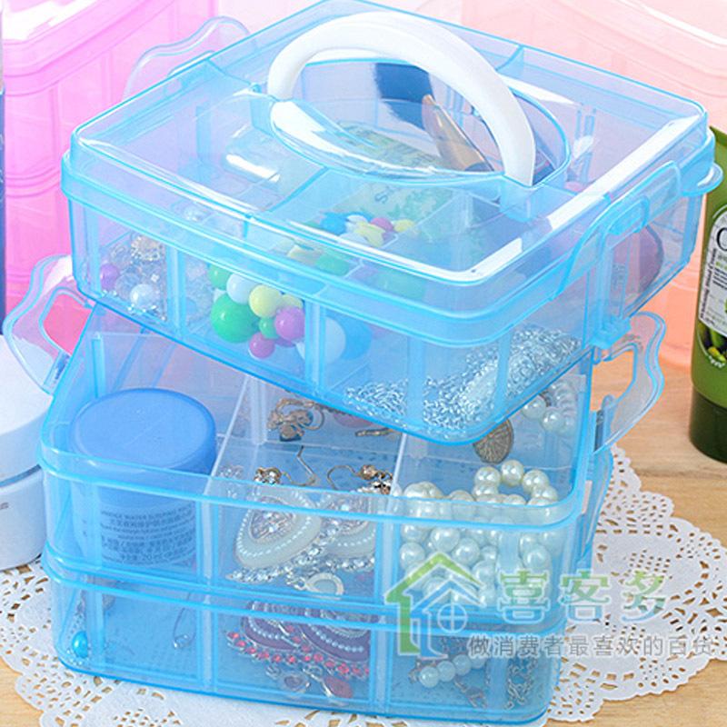 2015 New Fashion Transparent Plasitc Jewelry Makeup DIY Home Organizer Boxes Protable Travel Cosmetic Storage Case