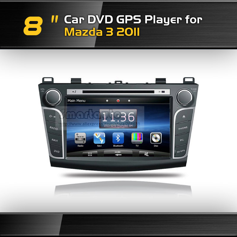 Wholesale 8''DVD GPS player for Mazda 3 2011,with iPod,Bluetooth,Canbus,RCA,USB,SD,AM,FM,Option:TV,Rearview Camera,Map(China (Mainland))