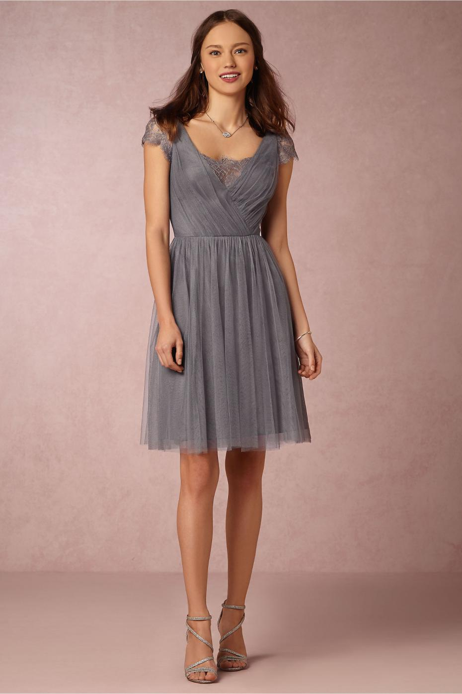 Tea length grey bridesmaid dresses with short sleeves v for Silver tea length wedding dresses