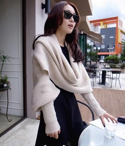 Мода женщина обертывание платок женщин шарфы твердые шарф рукава зима шерстяные теплые крючком вязать длинный мягкий обернуть шарфы шали новинка
