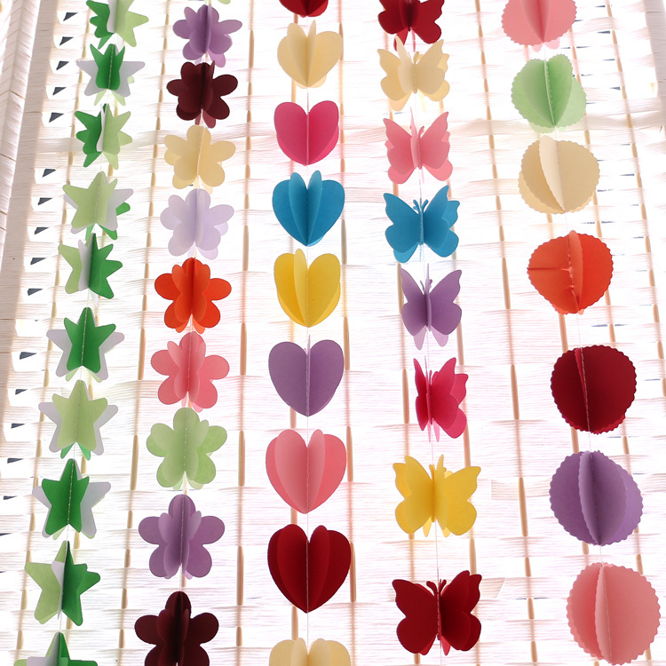 3d colored paper garland decoration heart butterfly star for 3d decoration for birthday