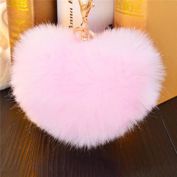 12cm Rabbit Fur Heart Shape Ball PomPom Charm Car Keychain Handbag Pendant Key Rings  Llaveros Mujer Chaveiro Carro