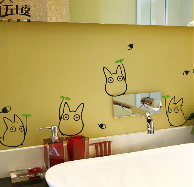Hot ! Cartoon Totoro Wall Stickers Vinyl Pattern Refrigerator Kitchen Cabinet Furniture Glass Decals Home Decor - YiZhe Trade Co.,Ltd store