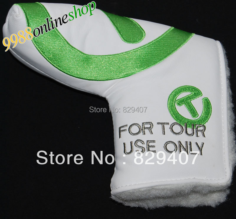 Wholesale New Golf Cover FOR TOUR Golf Putter Cover White/Green Can mix color 2pcs,golf club Cover Free Shipping(China (Mainland))