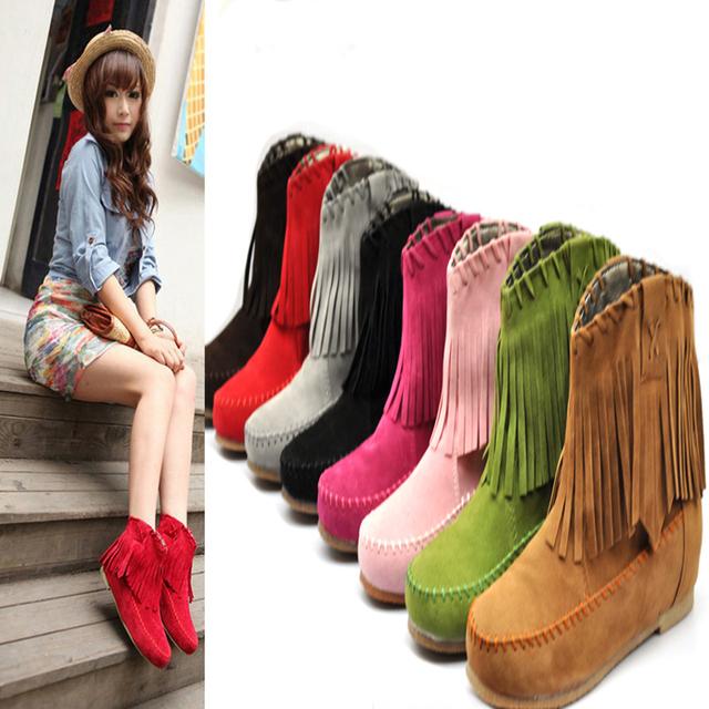 2013 spring and autumn single boots tassel boots elevator scrub tassel female boots tassel flat