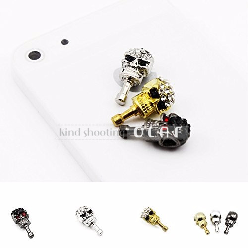 olaf 2016 Punk Rock Skull diamond Golden Black cell phone dust plug for iPhone/ Samsung Free shipping(China (Mainland))
