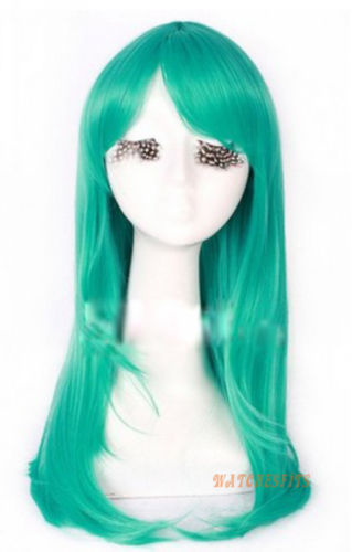 free shipping Express delivery to USA New Ladies long straight dark green Cosplay wig Heat resistant Wig s0305(China (Mainland))