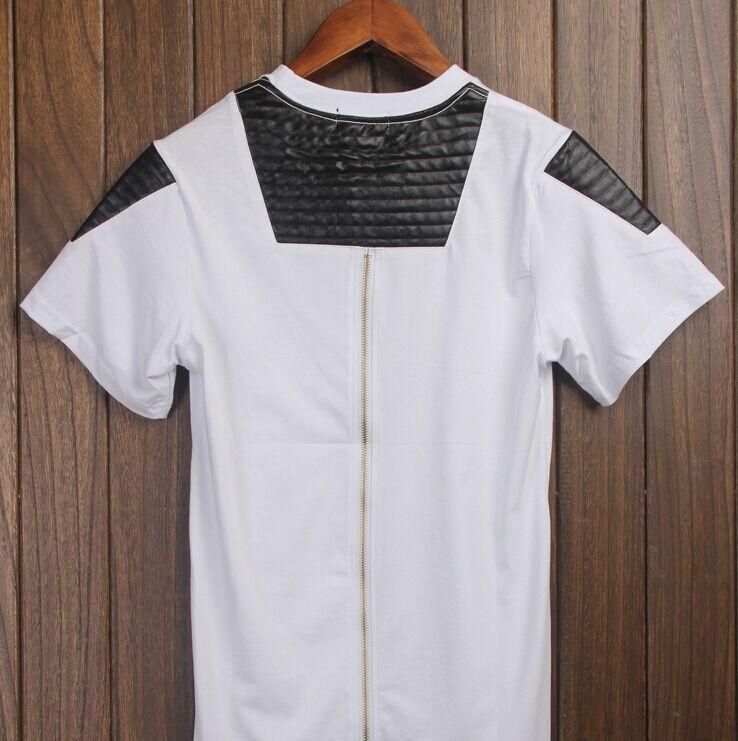 KTZ lengthened stitching leather sleeve T-shirt men shirt solid color zipper arc(China (Mainland))