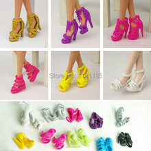 Set of 10 Pairs Fashion Dolls Shoes Heels Sandals For Barbie Dolls Outfit Dress Free Shipping(China (Mainland))