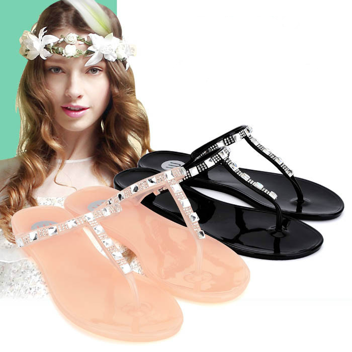 2016 Summer New Sweet Rhinestone Sandals Female Flat with Flat Sandals and Slippers Crystal Jelly Thong Sandals and Slippers(China (Mainland))
