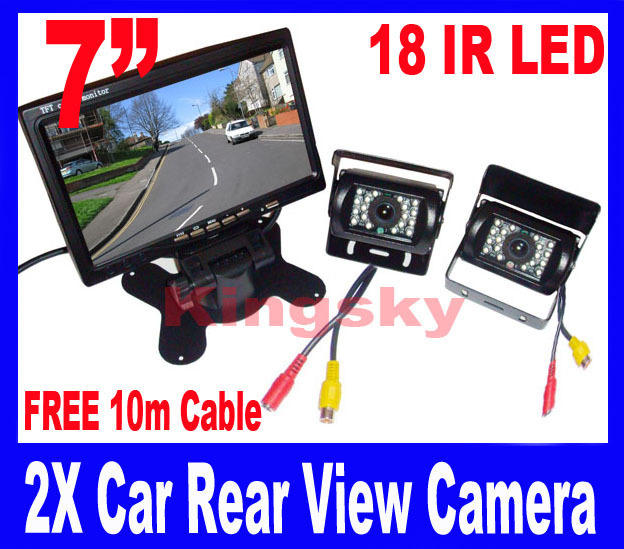 """2x 18 IR Reversing Camera + 7"""" LCD Monitor Car Rear View Kit free 10m video cable for long Bus Truck"""