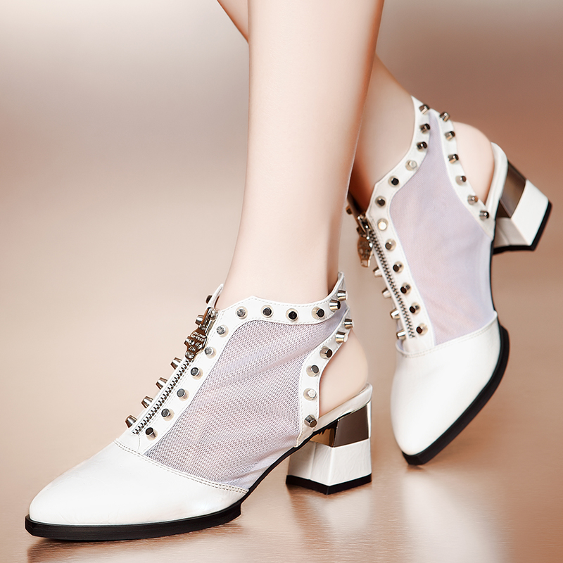 2014 spring summer gauze genuine leather pointed toe casual shoes rivet coarse high-heeled sandals low - wulin store