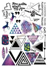 A6080-207 Большой Черный Taty tatuagem Боди-Арт Временные Татуировки Наклейки Цветные Олень Треугольник Стрелка Блеск Тату Стикер(China (Mainland))