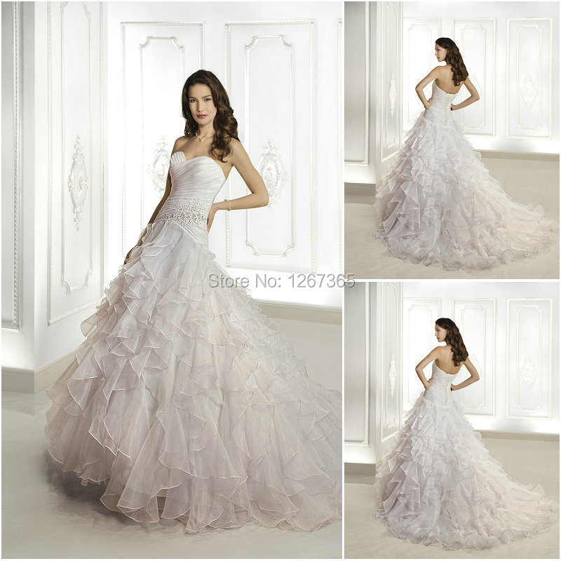 W001 romantic sweetheart off shoulder ruffle beaded little for Pink ruffle wedding dress