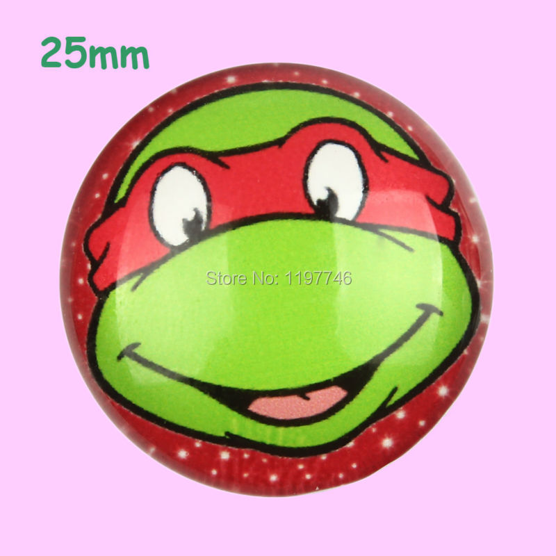 20pcs Red Teenage Mutant Ninja Turtle Photo Glass Cabochons 25mm Flatbacks Flat Back Girls Hair Bow Center Boy Phone Frame DIY(China (Mainland))