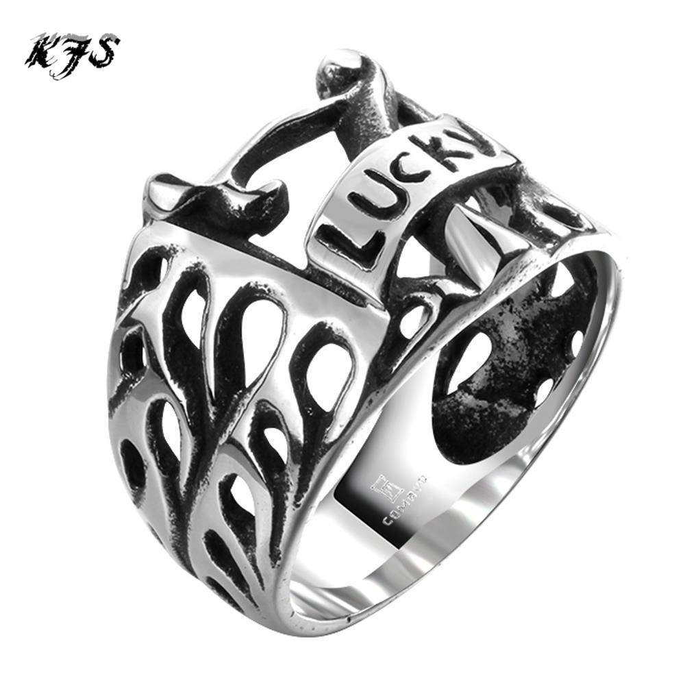 2016 Hot brand vintage punk Men's Rings letters carved lucky 316L stainless steel rock rings men free shipping R096-8 9 10 11(China (Mainland))