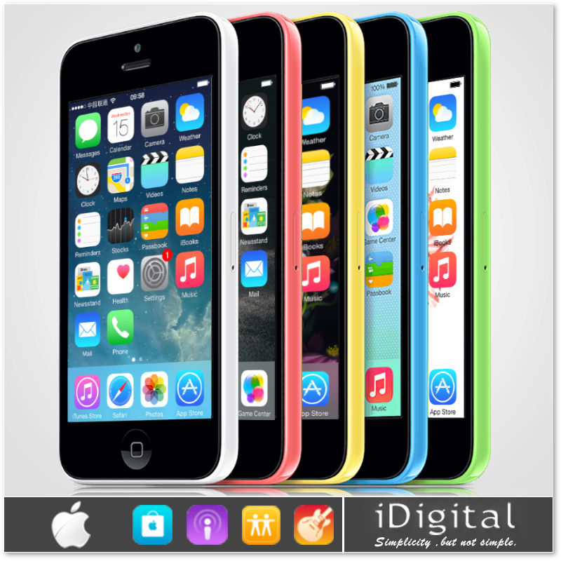 "Original Apple iPhone 5C Unlocked Mobile Phone 1GB RAM 8GB/16GB/32GB Retina 4.0""IPS IOS 8 Dual Core 1080P 3G WCDMA Smartphone(China (Mainland))"