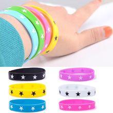 10pcs New Girl Boy Women Silicone Star Make Rubber Bangle Elastic Belt Band Bracelet Wristband#61101(China (Mainland))