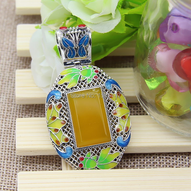 925 sterling silver hollow out choi hung Thai silver wire inlay enamel pendant Square topaz pulp pendant The butterfly pendant <br><br>Aliexpress